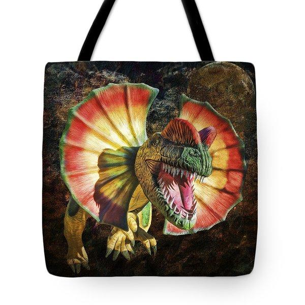 Dilophosaurus Spitting Dinosaur Tote Bag