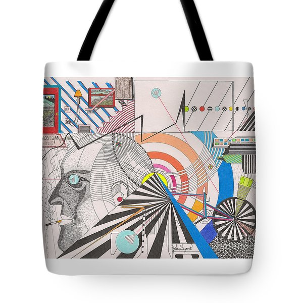 Tote Bag featuring the drawing Dimension  by John Wiegand