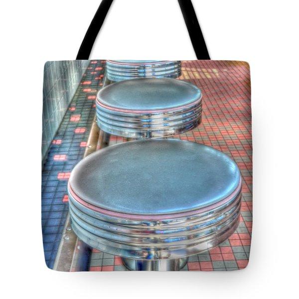 Diner Stools Tote Bag by Kathleen Struckle