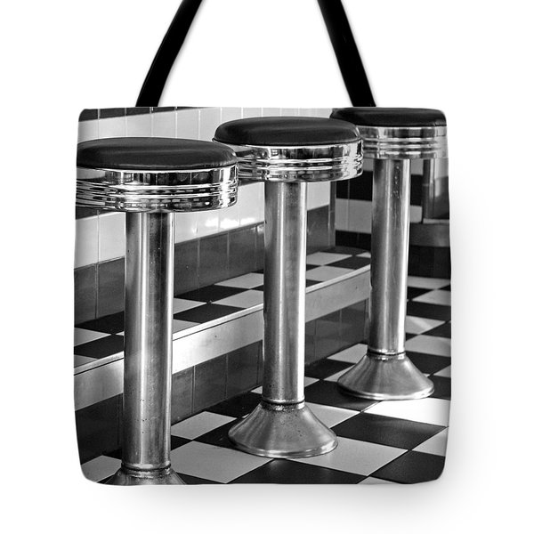 Diner Stools Tote Bag by Lisa Phillips