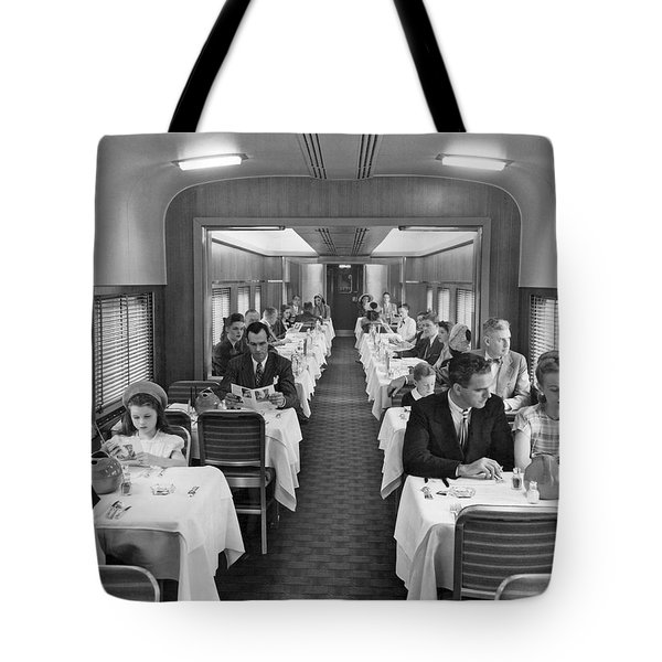 Diners In Railroad Dining Car Tote Bag