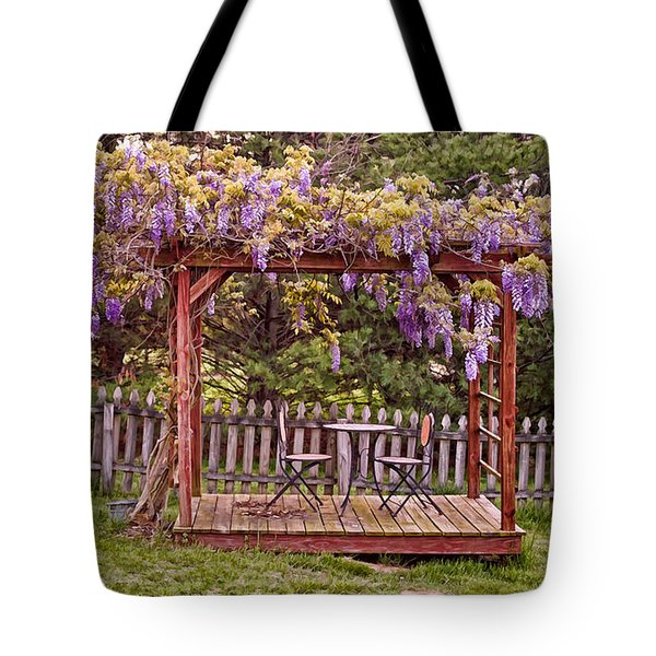 Dining For Two Under Wisteria 2 Tote Bag by Greg Jackson