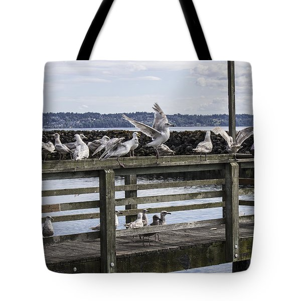 Dinner At The Marina Tote Bag by Cathy Anderson