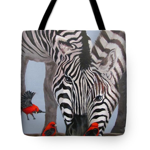 Tote Bag featuring the painting Dinner Guests by Karen Ilari