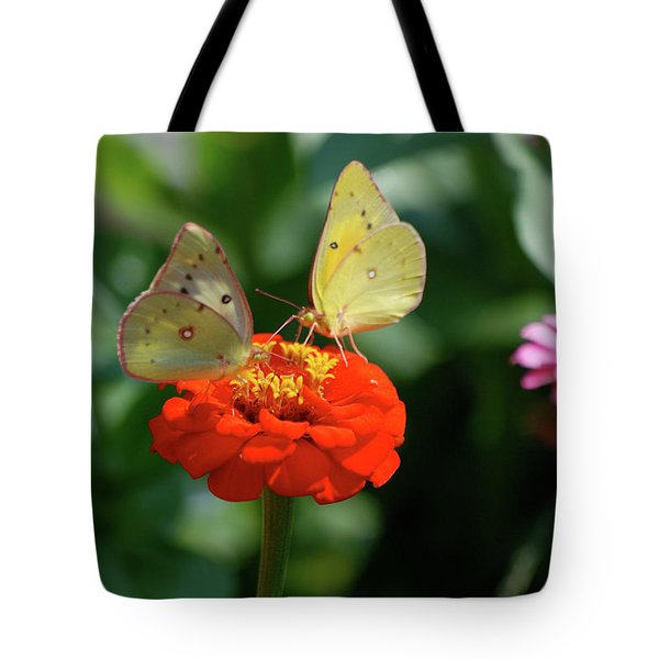 Tote Bag featuring the photograph Dinner Table For Two Butterflies by Thomas Woolworth