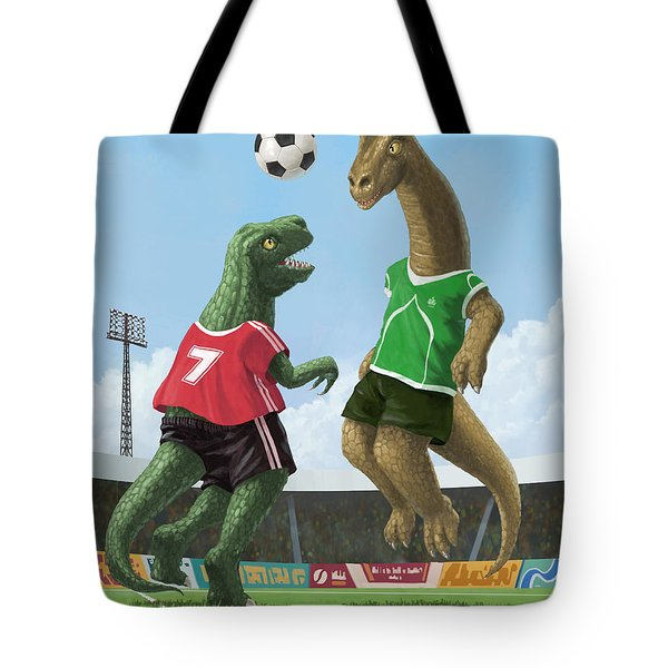 Dinosaur Football Sport Game Tote Bag
