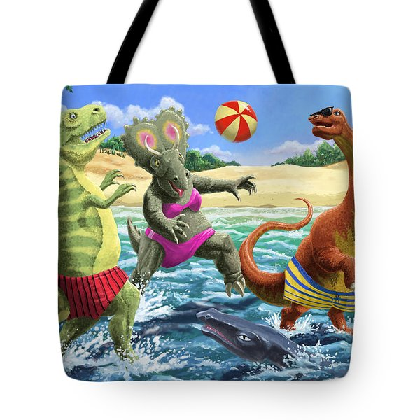 dinosaur fun playing Volleyball on a beach vacation Tote Bag