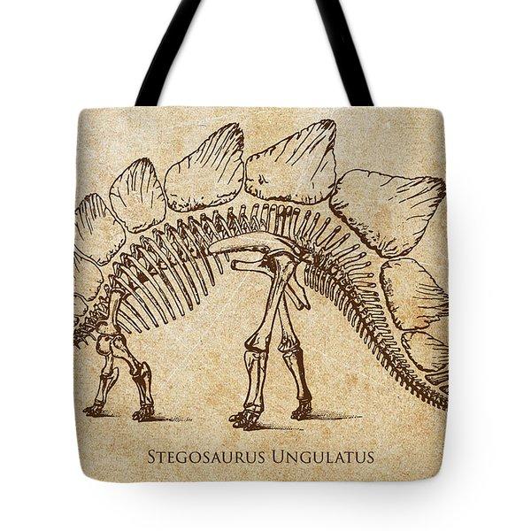 Dinosaur Stegosaurus Ungulatus Tote Bag by Aged Pixel