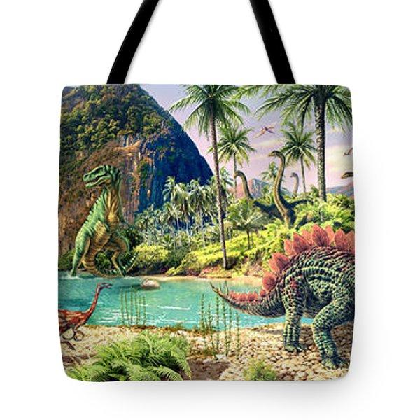 Dinosaur Volcanos Tote Bag by Steve Read