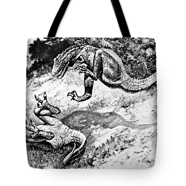 Dinosaurs Fighting Tote Bag by Science Source
