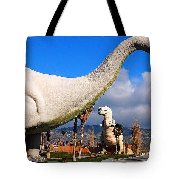 Dinosaurs Of Cabazon Tote Bag by James Kirkikis