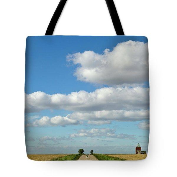 Dirt Road And Grain Elevator Williston Tote Bag