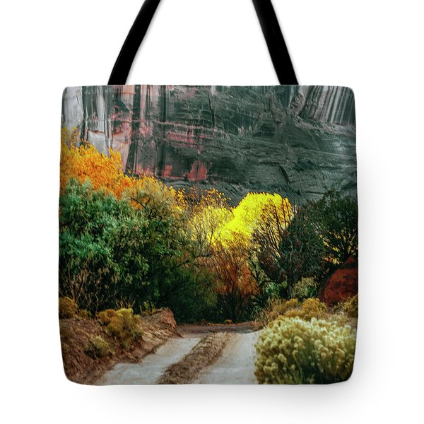Dirt Road In Canyon De Chelly National Tote Bag