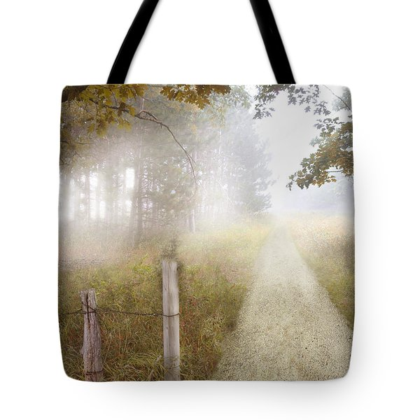 Dirt Road In Fog Tote Bag by Jill Battaglia