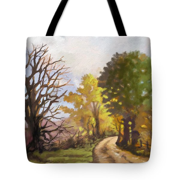 Tote Bag featuring the painting Dirt Road To Some Place by Anthony Mwangi