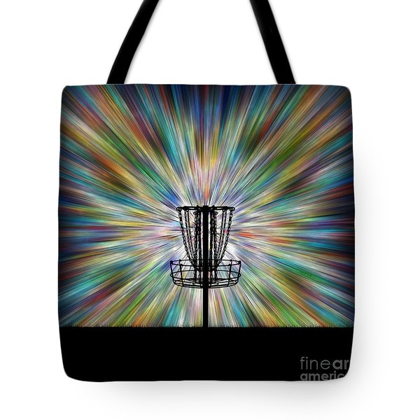 Disc Golf Basket Silhouette Tote Bag by Phil Perkins