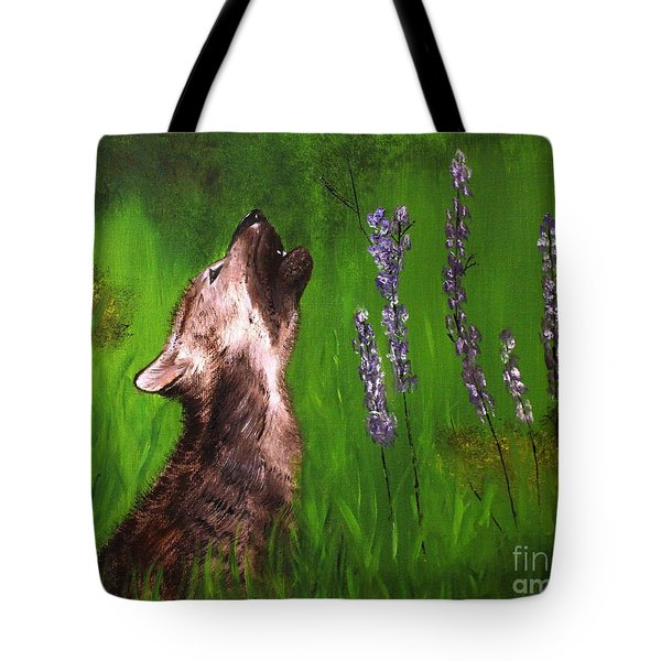 Tote Bag featuring the painting Discovering His Voice by Bev Conover
