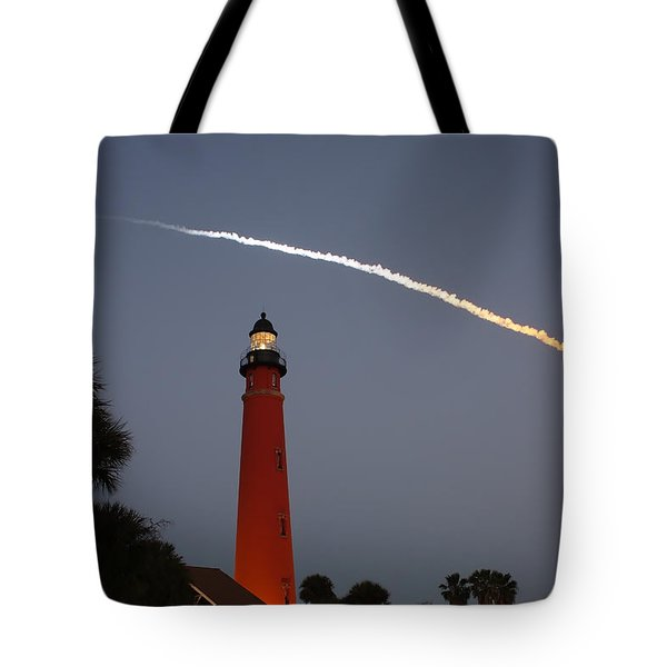 Discovery Booster Separation Over Ponce Inlet Lighthouse Tote Bag