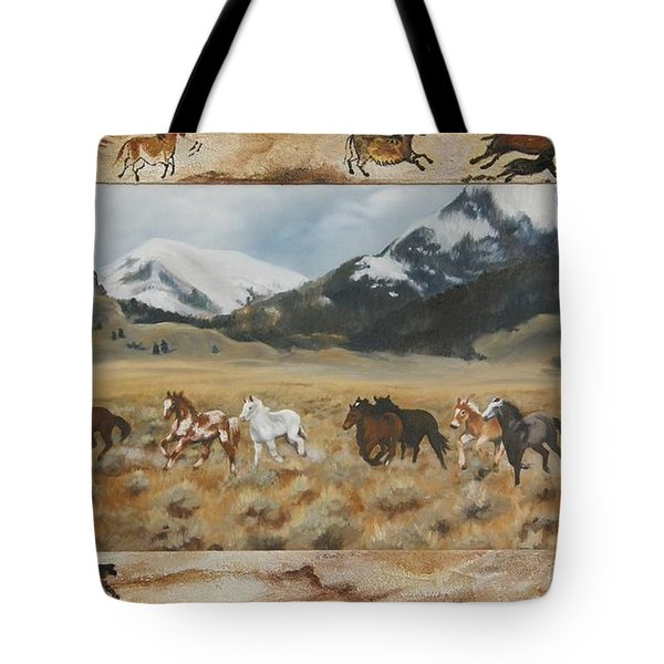 Tote Bag featuring the painting Discovery Horses Framed by Lori Brackett