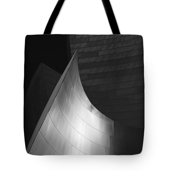 Disney Hall Abstract Black And White Tote Bag by Rona Black