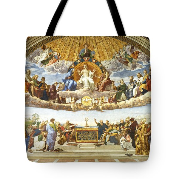Tote Bag featuring the painting Disputation Of Holy Sacrament. by Raphael