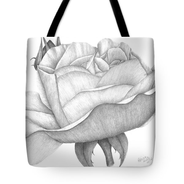 Tote Bag featuring the drawing Distant Drum Rose Bloom by Patricia Hiltz