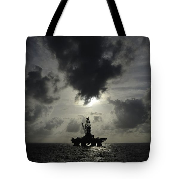 Distant Offshore Oil Rig Tote Bag