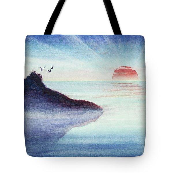 Distant Shoreline Sunrise Watercolor Painting Tote Bag by Michelle Wiarda