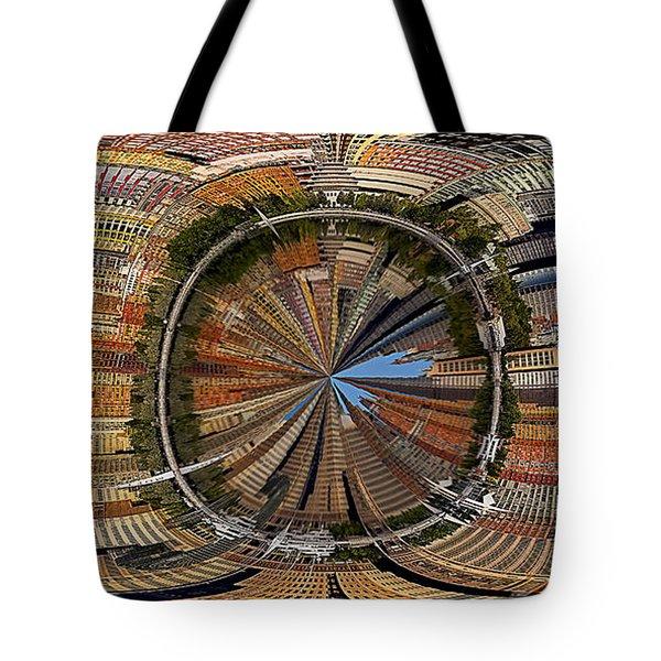 Distorted Lower Manhattan Tote Bag by Susan Candelario