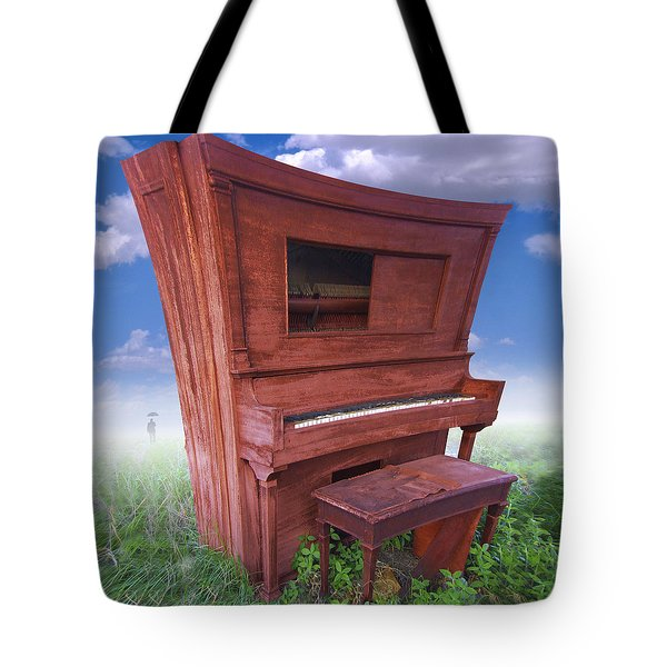 Distorted Upright Piano 2 Tote Bag by Mike McGlothlen