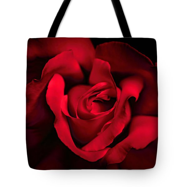 Tote Bag featuring the photograph Haunting Red Rose Flower by Jennie Marie Schell
