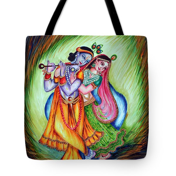 Tote Bag featuring the painting Divine Lovers by Harsh Malik