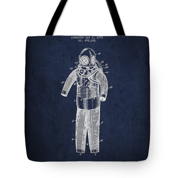 Diving Armor Patent Drawing From 1893 Tote Bag