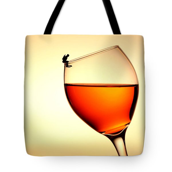 Diving In Red Wine Little People On Food Tote Bag by Paul Ge
