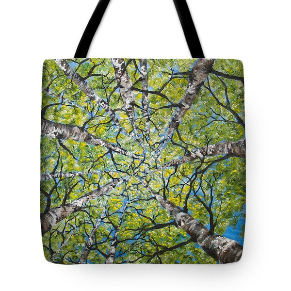 Tote Bag featuring the painting Dizzy Aspens by Melinda Cummings