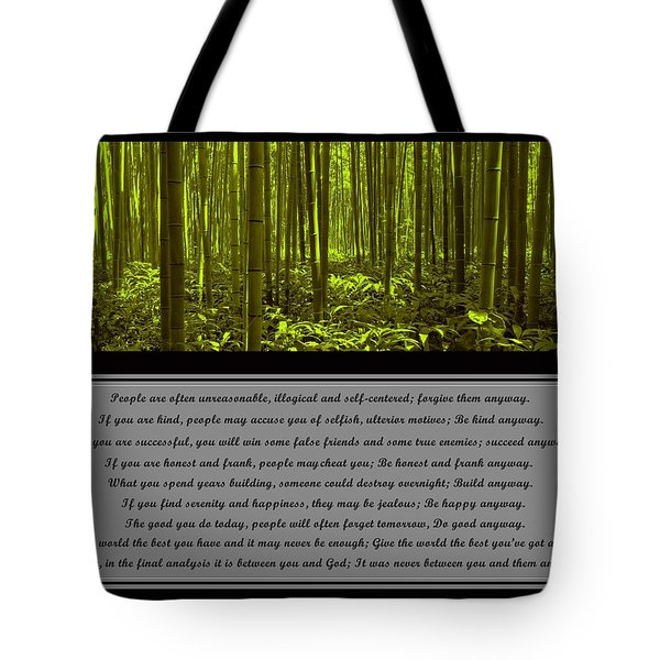 Do It Anyway Bamboo Forest Tote Bag
