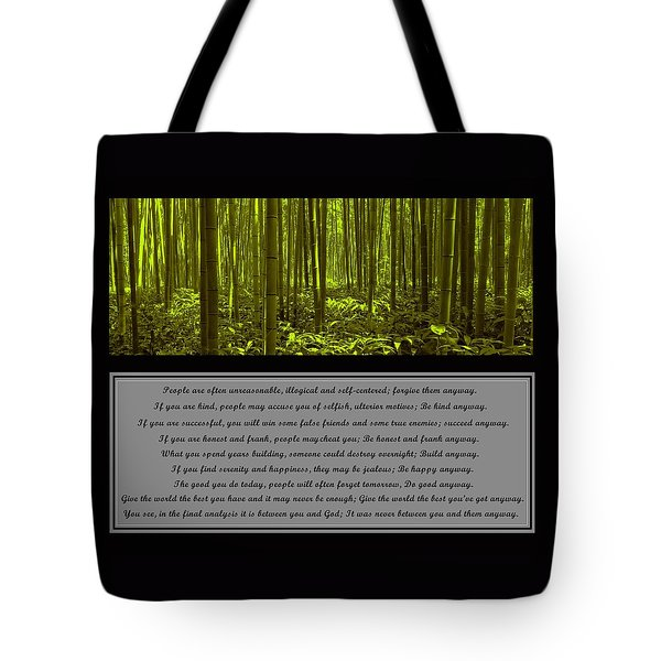 Do It Anyway Bamboo Forest Tote Bag by David Dehner