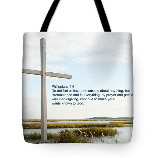 Belin Church Cross At Murrells Inlet With Bible Verse Tote Bag