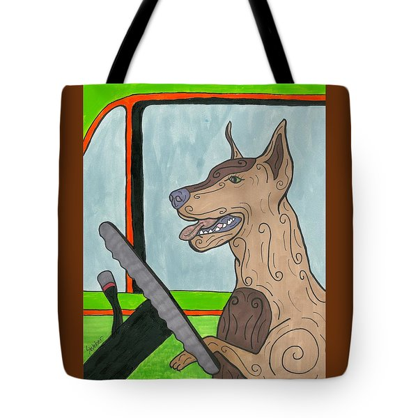 Tote Bag featuring the painting Doberman Driving by Susie Weber