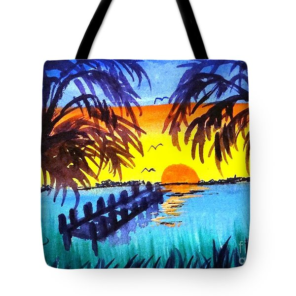 Dock At Sunset Tote Bag