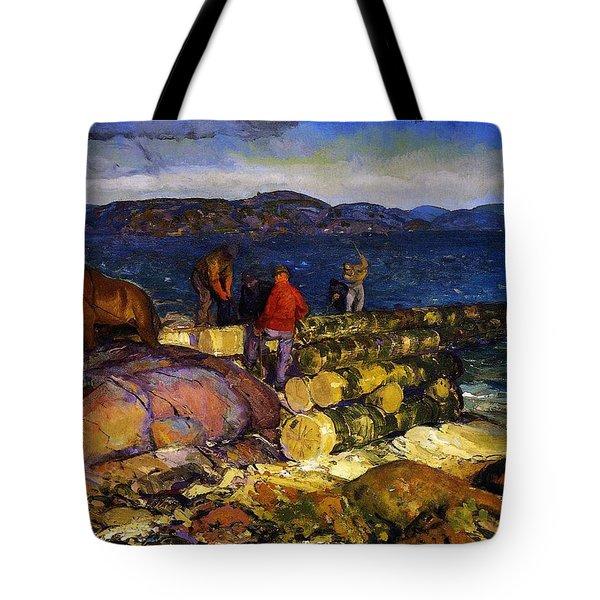 Dock Builders Tote Bag by George Wesley Bellows