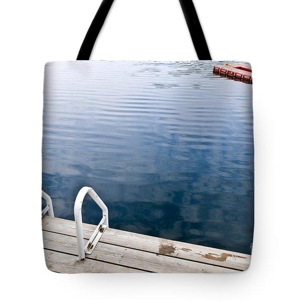 Dock On Calm Summer Lake Tote Bag