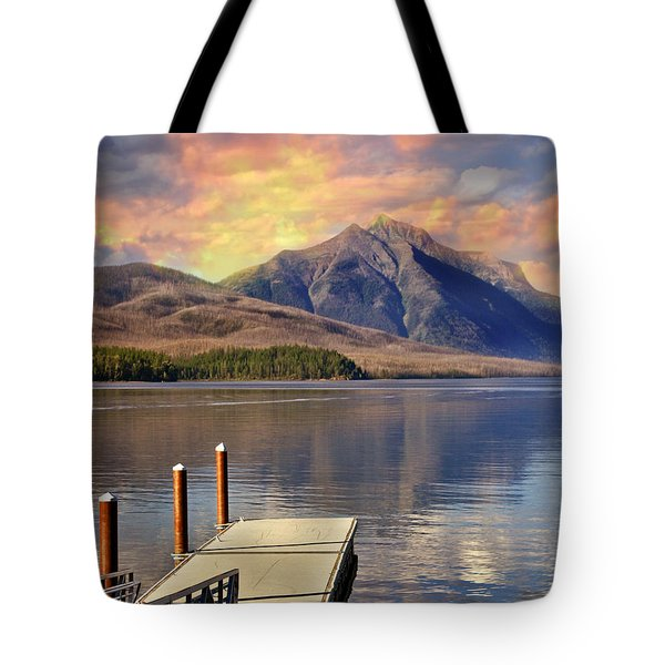 Tote Bag featuring the photograph Dock On Lake Mcdonald by Marty Koch