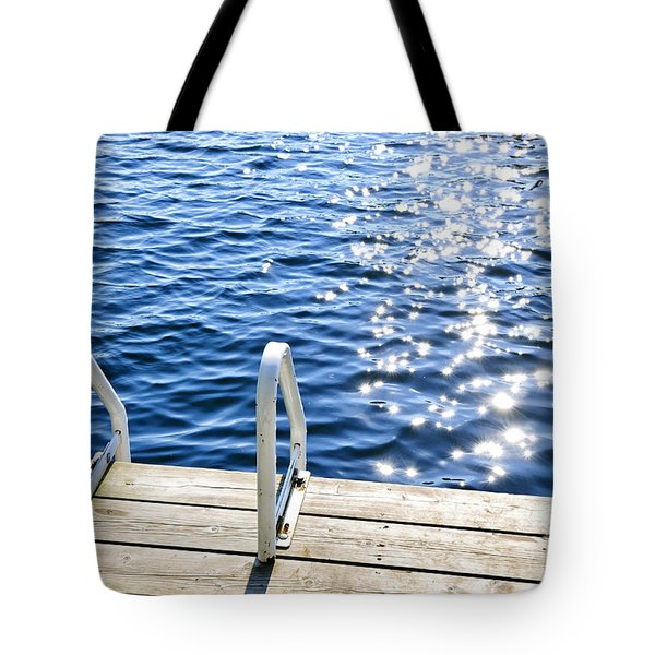 Dock On Summer Lake With Sparkling Water Tote Bag by Elena Elisseeva