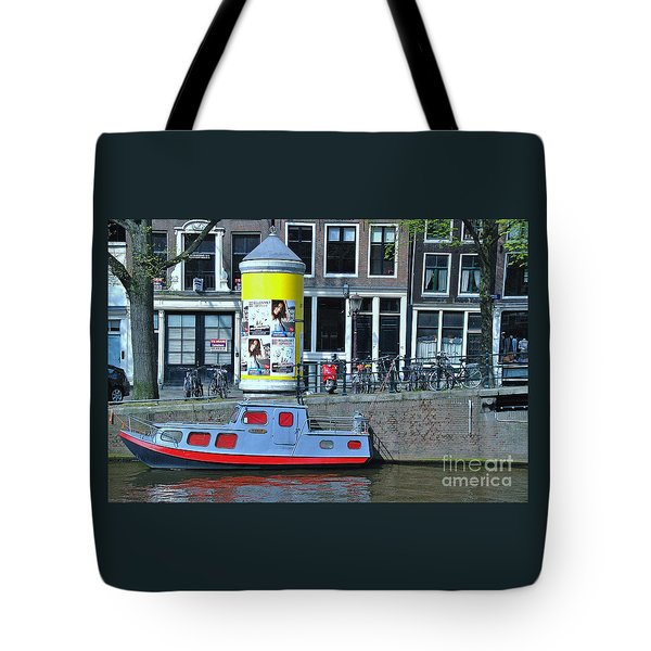 Tote Bag featuring the photograph Docked In Amsterdam by Allen Beatty