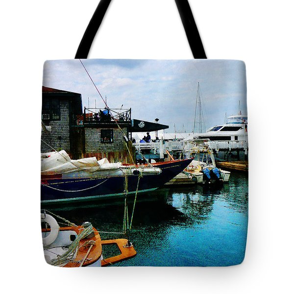Tote Bag featuring the photograph Docked Boats In Newport Ri by Susan Savad