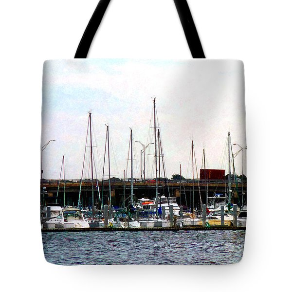 Docked Boats Norfolk Va Tote Bag