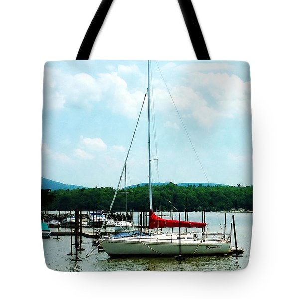 Tote Bag featuring the photograph Docked On The Hudson River by Susan Savad