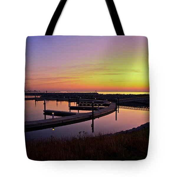 Docks At Sunrise Tote Bag by Jonah  Anderson