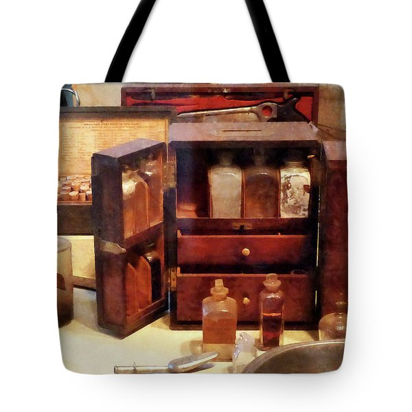 Tote Bag featuring the photograph Doctor - Case With Medicine Bottles by Susan Savad